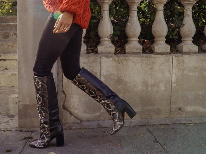 Off the shoulder sweater and Knee-High Snakeskin Boots